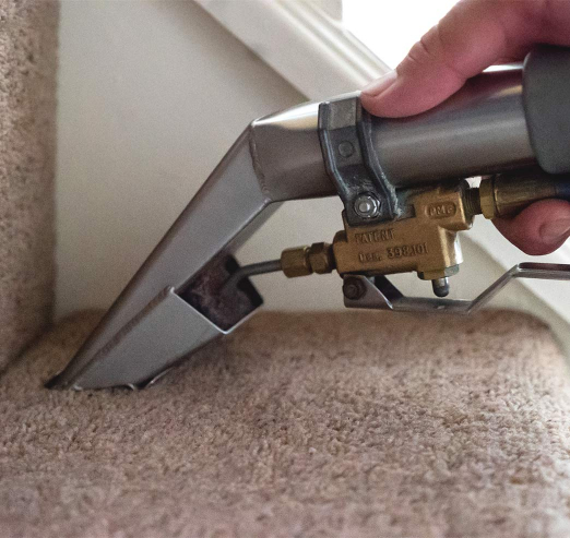 staircase carpet cleaned with hot water extraction