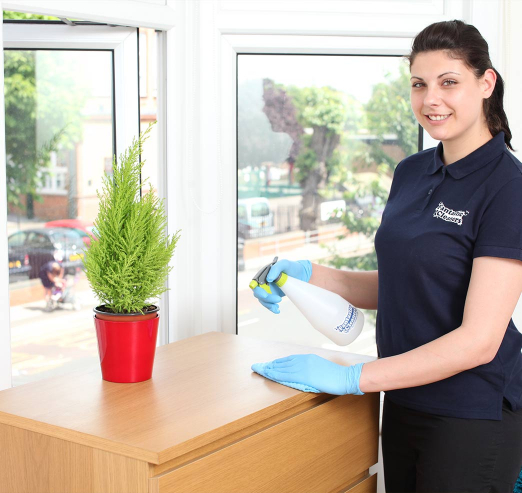 cleaner wiping furniture