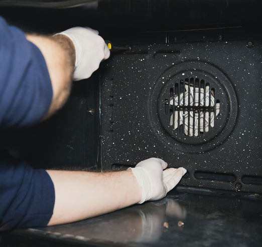 cleaning the oven fan
