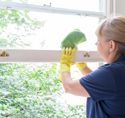 female window cleaner cleaning a window