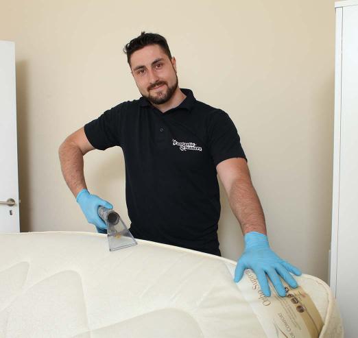 professional mattress cleaning in progress